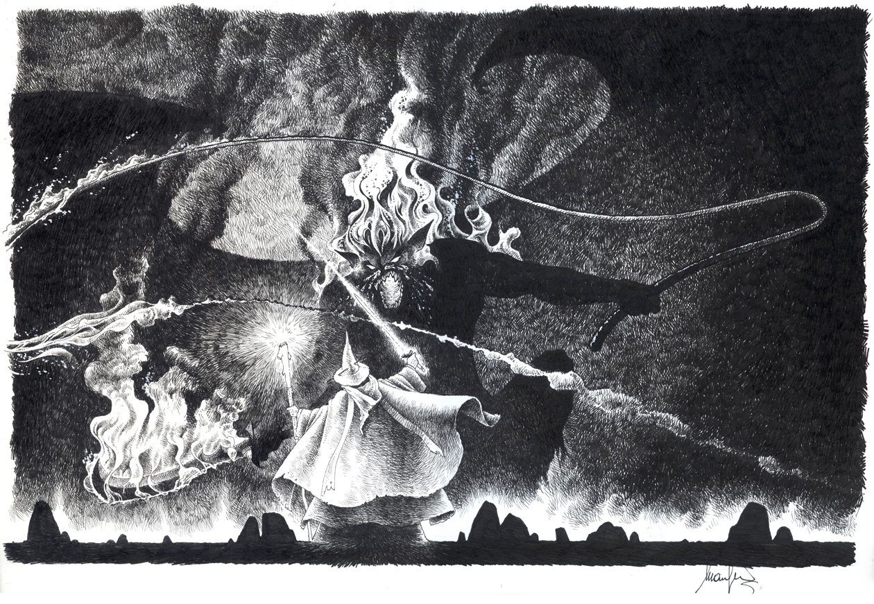 Lo scontro tra Gandalf e il Balrog, Emanuele Manfredi (china)